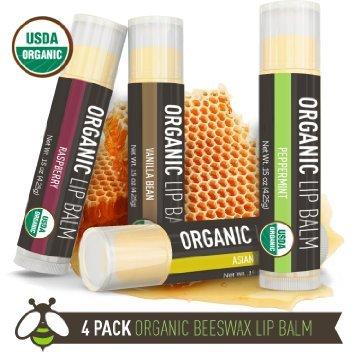 Amazon.com : Lip Balm - 4 Pack - La Lune Naturals USDA Certified Organic Lip Balm, Natural Beeswax Lip Balm - Vanilla Bean, Raspberry, Asian Pear, Peppermint - MADE IN THE USA - Best Lip Balm for Kids & Babies : Beauty (4649)