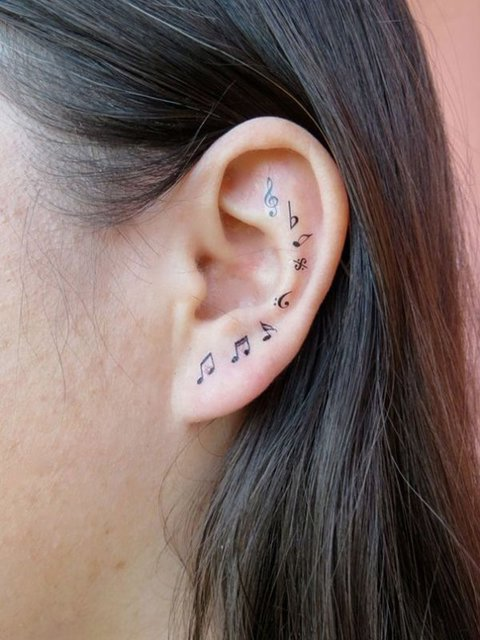 23 tiny ear tattoos that are better than piercings (4829)