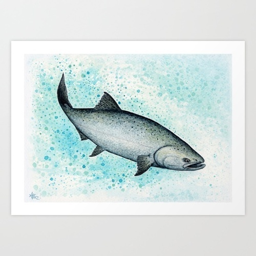 Salmon Splash ~ Watercolor by Amber Marine  by Amber Marine | WHI (15839)